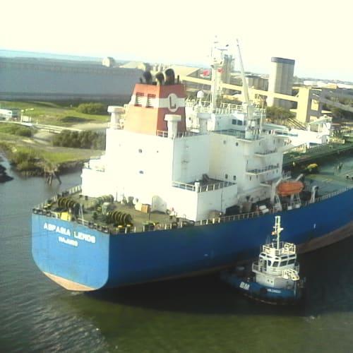 ブリスベンの港にて。 右側の船は大きな船に潰されているみたいに見えるが、この小さい船は元々こんな形らしい。何か特殊な機能船なのか。 | ブリスベン(クイーンズランド州)