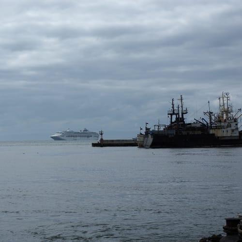 沖合で帰りを待つサンプリンセス | コルサコフ(サハリン島)での客船サン・プリンセス