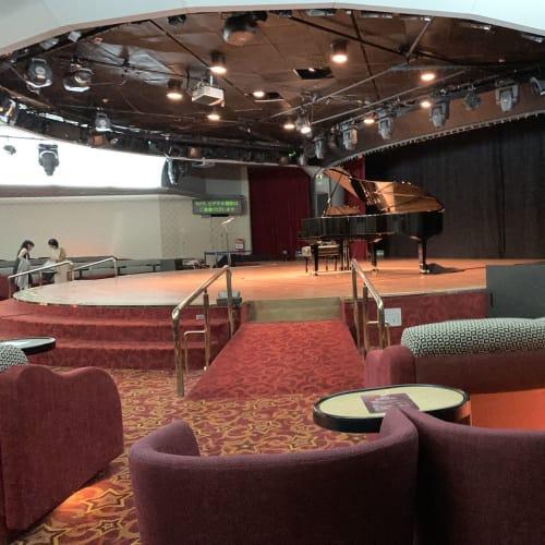 ここでのショーは上演中の撮影、録画などは禁止されていますので開演前の様子をご紹介。 | 客船飛鳥2の船内施設