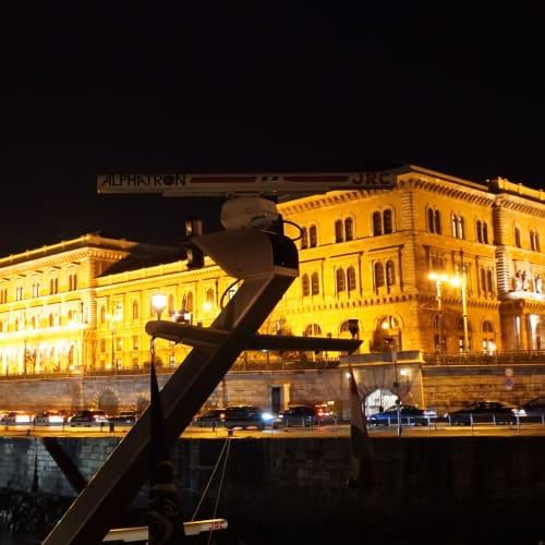 船からはライトアップされたコルビヌス大学が見えます。 | ブダペスト