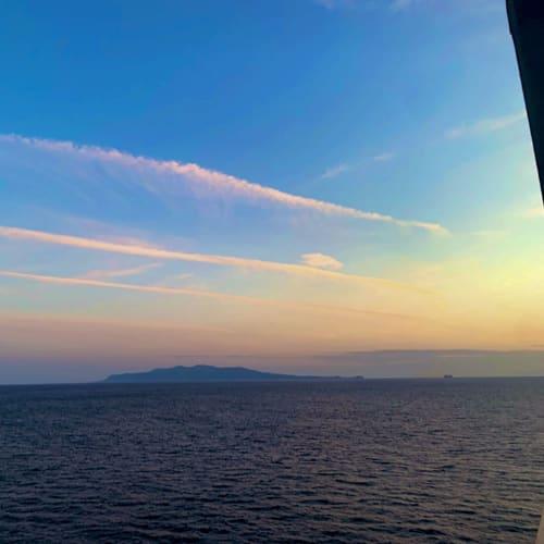 夕日と青空のコントラストが素敵
