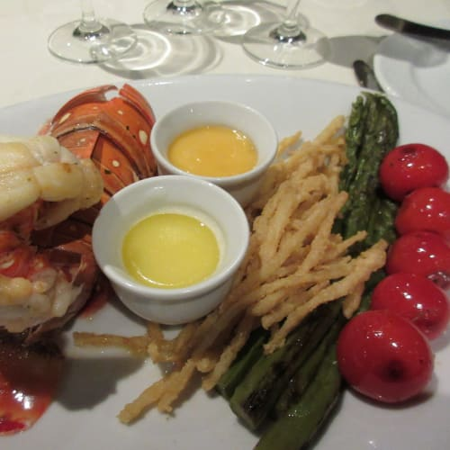 Dinner with Lobster, ordered at 5th FL Black Crab restaurant. Good.