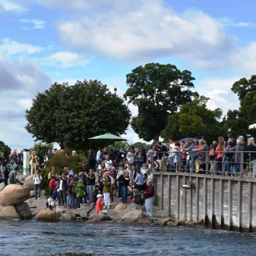 港内観光船から見た人魚姫の像。多くの観光客が記念撮影をしていました。 | コペンハーゲン