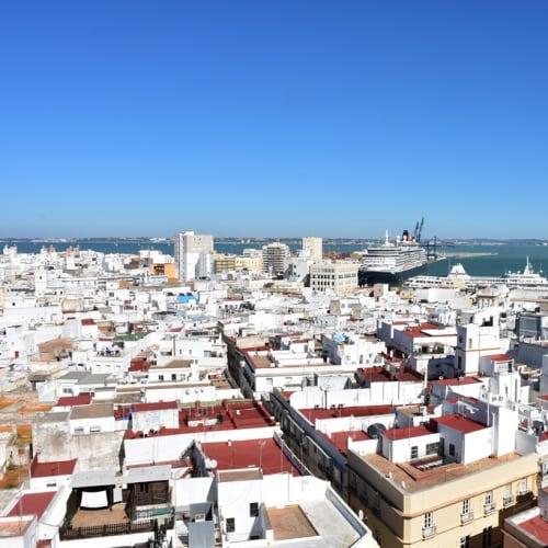 大聖堂の塔から写したカディスの港と旧市街。 | カディス