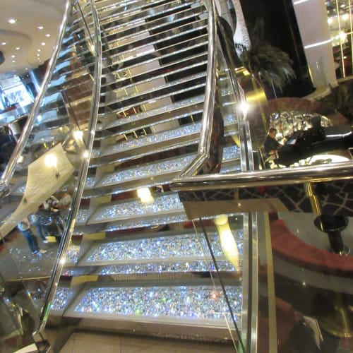 MSC Divina, staircase at Lobby, Swarovski was installed.