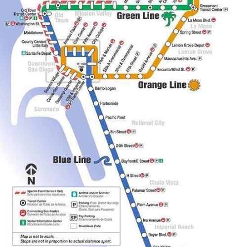 サンディエゴ近郊の路線図。