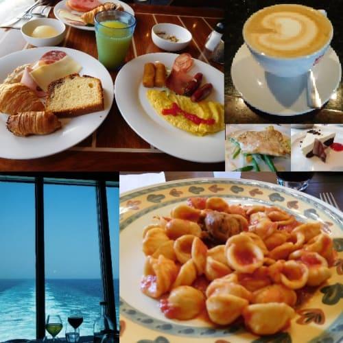 2日目の食事。左上から、ビュッフェレストランの朝食、illyカプチーノ、アルバトロスレストランのランチ(七面鳥のチーズフォンデュ風)&ドルチェ、ランチの席からの眺め、エクスカーションでいただいたオレキエッテ | 客船コスタ・デリチョーザのブッフェ