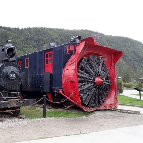 スキャグウエイ 町を散策中、蒸気機関車が展示されていました。 | スカグウェイ(アラスカ州)