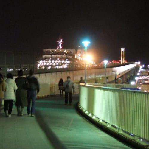夜に入っても見学者は絶える事は無かった | 神戸での客船クイーン・エリザベス
