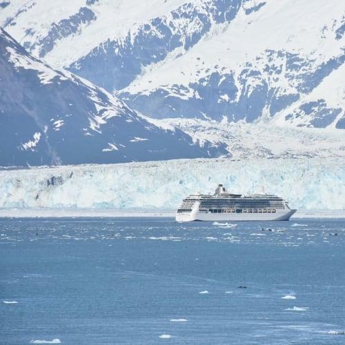 ハバート大氷河とクイーン・エリザベス号の後に入ってきたロイヤルカリビアンのレディアンス・オブ・ザ・シーズ号90,090総トン。  船はここまで寄るのかと思う程結構近寄ります。 正直なところ環境悪化に加担しているようで、私には若干の罪悪感もありました。 | ハバード・グレイシャー(アラスカ州)での客船レディアンス・オブ・ザ・シーズ