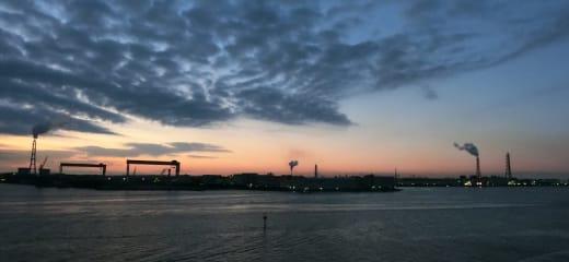 ダイヤモンドプリンセス 名古屋港の日の出