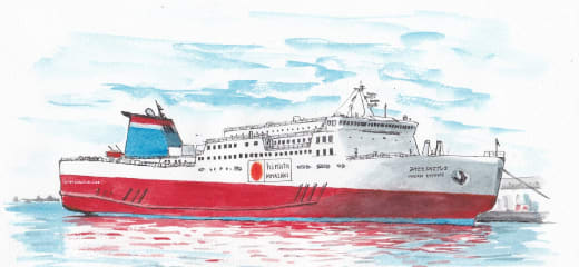 新造船の完成想像図
