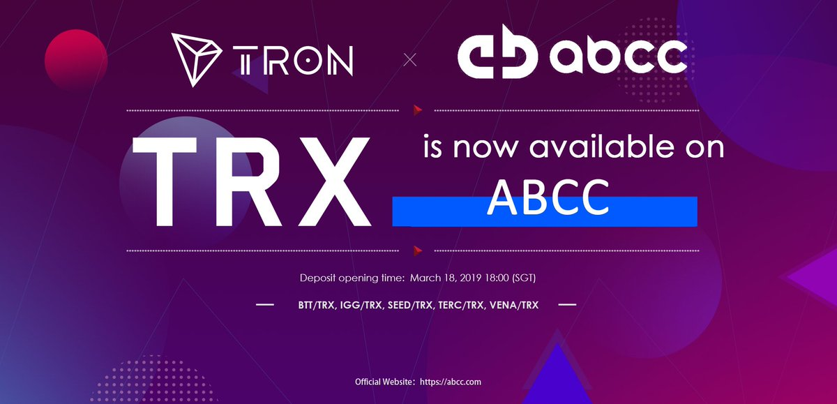 ABCC Exchange Lists TRX