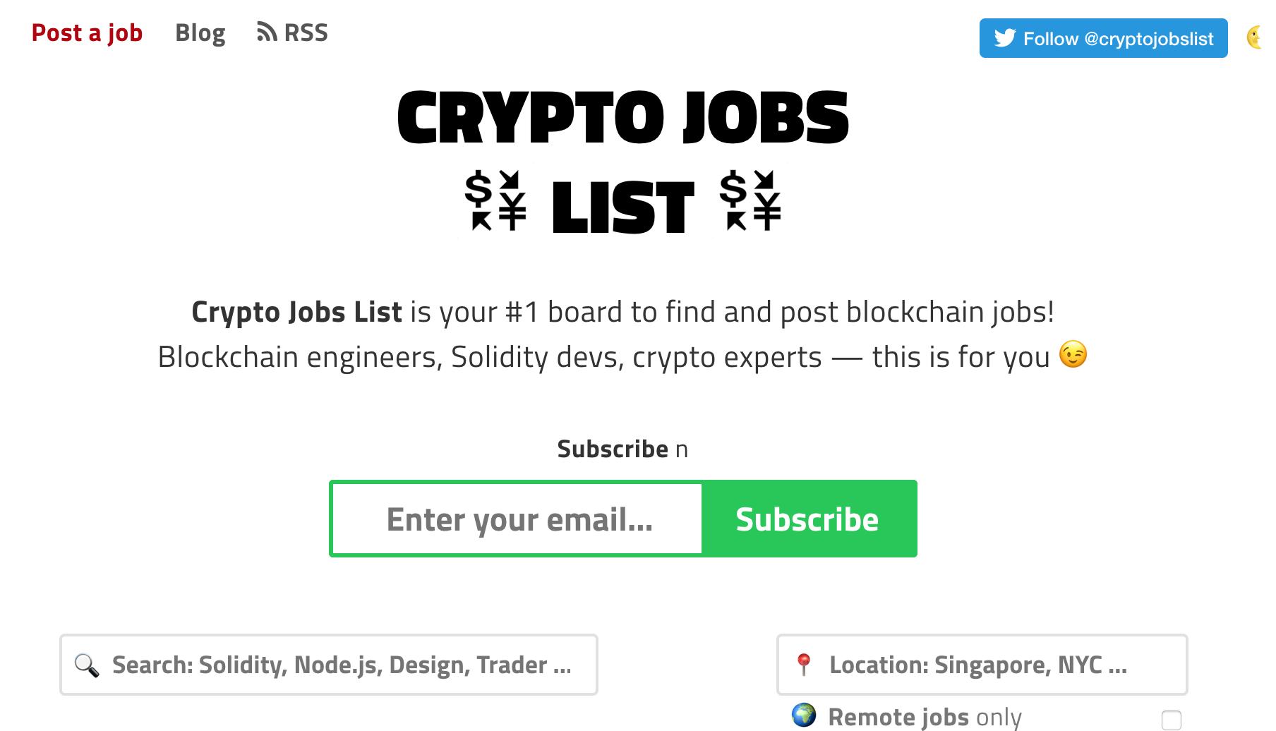 Crypto Jobs List
