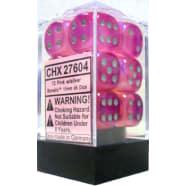 16mm d6 Dice Block: Borealis Pink w/Silver Thumb Nail