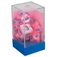Poly 7 Dice Set: Lustrous Pink w/Blue Thumb Nail