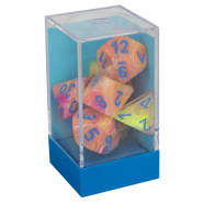 Poly 7 Dice Set: Festive Allusion w/Blue Thumb Nail