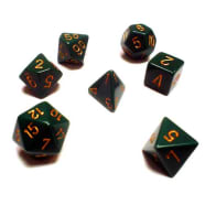Poly 7 Dice Set: Opaque Dusty Green w/Copper Thumb Nail