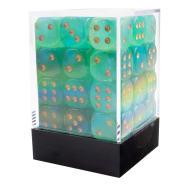12mm d6 Dice Block: Borealis Luminary Light Green/Gold Thumb Nail