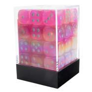 12mm d6 Dice Block: Borealis Luminary Pink/Silver Thumb Nail