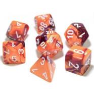 Poly 7 Dice Set: Gemini Orange-Purple/White Thumb Nail