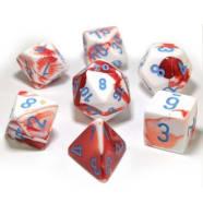Poly 7 Dice Set: Gemini Red-White/Blue Thumb Nail