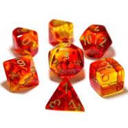 Poly 7 Dice Set: Gemini Red-Yellow/Gold Thumb Nail