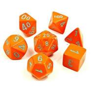 Lab Dice Heavy Poly 7 Dice Set: Orange w/Turquoise Thumb Nail