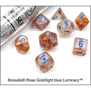 Lab 7 Dice Set: Borealis Luminary: Rose Gold/Light Blue Thumb Nail