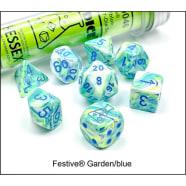Lab 7 Dice Set: Festive Garden/Blue Thumb Nail