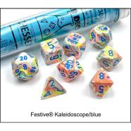 Lab 7 Dice Set: Festive Kaleidoscope/Blue Thumb Nail