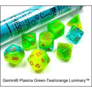 Lab 7 Dice Set: Gemini Luminary: Plasma Green-Teal/Orange Thumb Nail