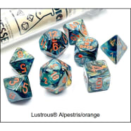 Lab 7 Dice Set: Lustrous Alpestris/Orange Thumb Nail