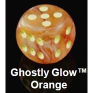 Poly 7 Dice Set: Ghostly Glow Orange w/Yellow Thumb Nail