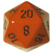 34mm d20: Opaque Orange w/Black Thumb Nail