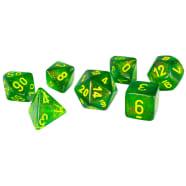 Poly 7 Dice Set: Borealis Maple Green w/Yellow Thumb Nail