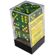 16mm d6 Dice Block: Borealis Maple Green w/Yellow Thumb Nail