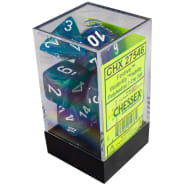 Poly 7 Dice Set: Festive Waterlily w/White Thumb Nail