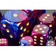 Poly 7 Dice Set: Gemini Blue-Purple w/Gold Thumb Nail