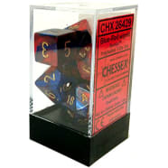 Poly 7 Dice Set: Gemini Blue-Red w/Gold Thumb Nail