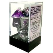 Poly 7 Dice Set: Gemini Purple-Steel w/White Thumb Nail