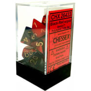 Poly 7 Dice Set: Gemini Black-Red w/Gold Thumb Nail
