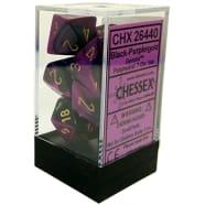 Poly 7 Dice Set: Gemini Black-Purple w/Gold Thumb Nail
