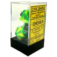 Poly 7 Dice Set: Gemini Green-Yellow w/silver Thumb Nail