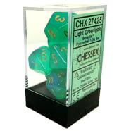 Poly 7 Dice Set: Borealis Light Green w/Gold Thumb Nail