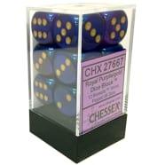 16mm d6 Dice Block: Borealis Royal Purple w/Gold Thumb Nail