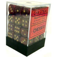 12mm d6 Dice Block: Borealis Magenta w/Gold Thumb Nail
