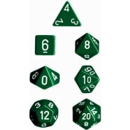 Poly 7 Dice Set: Opaque Green w/White Thumb Nail