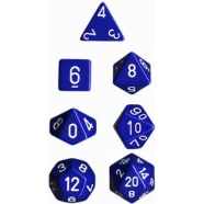 Poly 7 Dice Set: Opaque Blue w/White Thumb Nail