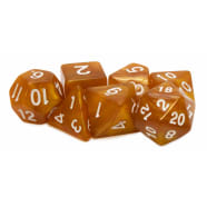 Poly 7 Dice Set: Acrylic - Orange/white Thumb Nail